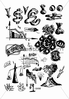 small icons of financial crisis