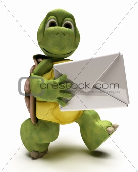 Tortoise with a white envelope