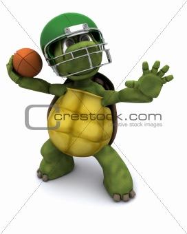Tortoise throwing an american football