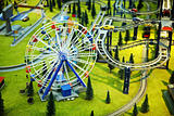 Model - park with a Ferris wheel and railway