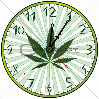 cannabis green clock