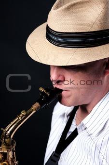 Saxophone Jazz Player on Black
