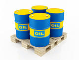 blue and yellow oil barrels
