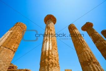 Dorian columns of Temple of Heracles in Agrigento, Sicily