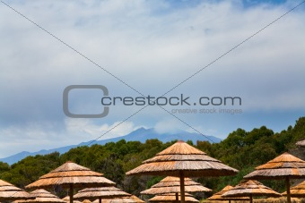 view on Etna from sea beach, Sicily