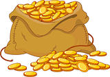 Bag full of golden coin