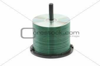 Spindle of cd disks isolated on white