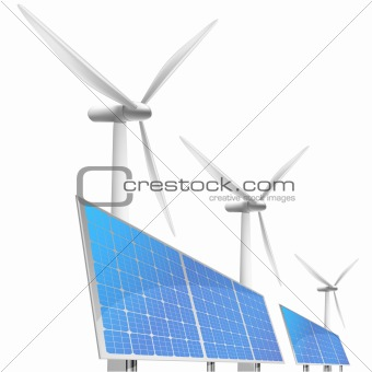 solar cells and wind generator