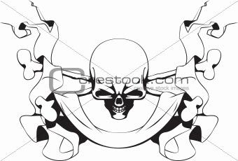 Skull, crossed bones and ribbon