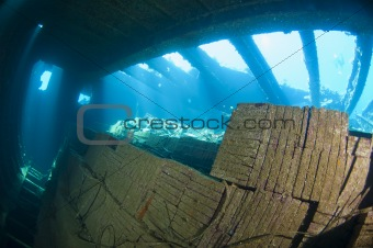 Tiles in the hold of a large shipwreck