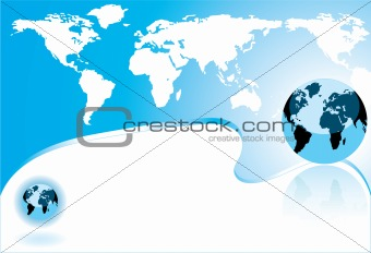 abstract world map and earth globe