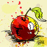 Stylized apple on grunge background