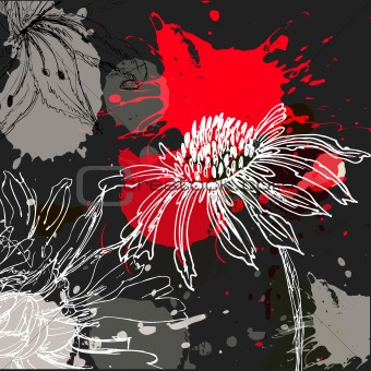 Abstract grunge background with stylized flowers