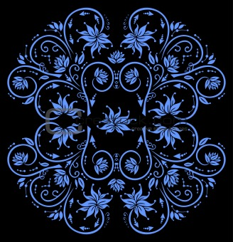 Abstract floral ornament in blue color
