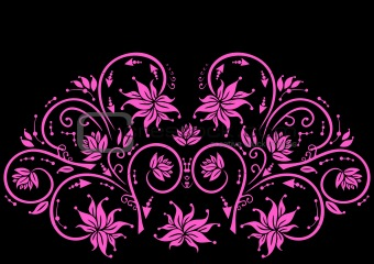 Abstract floral ornament in pink color