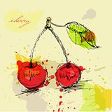 Stylized cherry on grunge background
