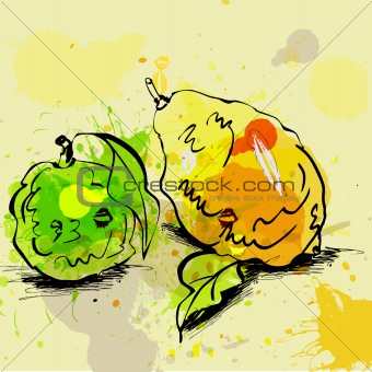 Stylized lime and lemon illustration on grunge background
