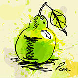 Stylized pear on grunge background