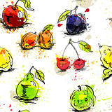 Seamless wallpaper with fruit 