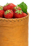 Strawberry in bark basket