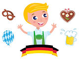Cute bavarian Octoberfest male & icons isolated on white backgro