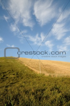 country landscape with a green field and blue sky