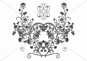 Abstract floral ornament in black, grey and white colors