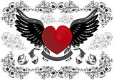 Heart with wings and background