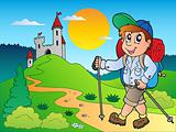 Cartoon hiker boy near castle