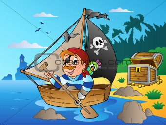 Coast with young cartoon pirate 1