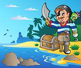 Coast with young cartoon pirate 2