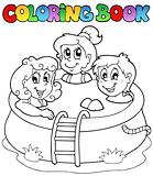 Coloring book with kids in pool