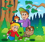 Forest with kids mushrooming
