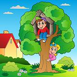 Garden with two kids and tree
