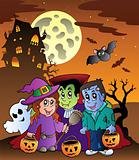 Scene with Halloween mansion 9