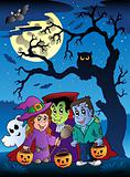 Scene with Halloween tree 3