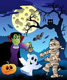Scene with Halloween tree 4