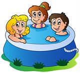 Three kids in pool