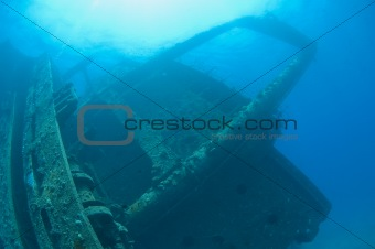 Bridge section of a large shipwreck