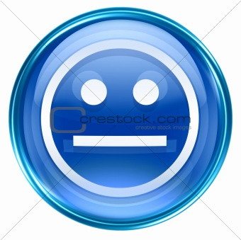 Smiley Face blue, isolated on white background.
