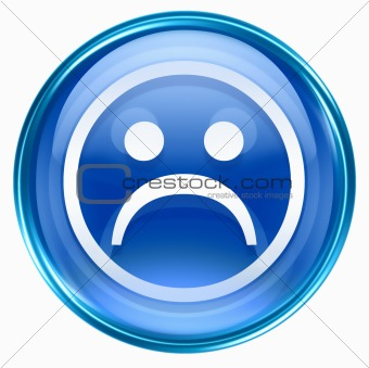Smiley Face, dissatisfied blue, isolated on white background.