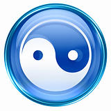 yin yang symbol icon blue, isolated on white background.