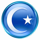 moon and star icon blue, isolated on white background.
