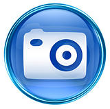 Camera icon blue, isolated on white background