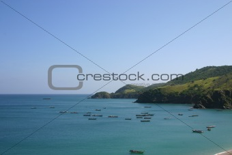Bay with fishing boats