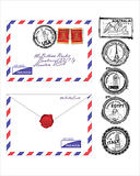 airmail envelope with World landmarks stamps