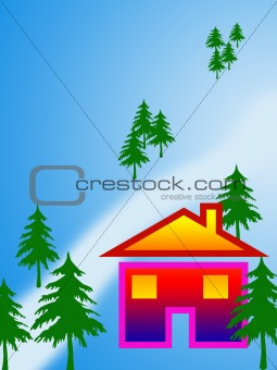 Bright house on the bank of a frozen river on a background