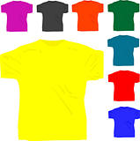 set of men's T shirt isolated on white