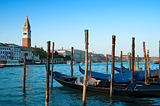 Gondolas and St Mark&#39;s Campanile, Venice, Italy