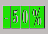 50 % SALE text on red